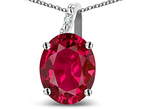 (Star K 14k Gold Oval 9x7 Created Ruby Journey Pendant Necklace)