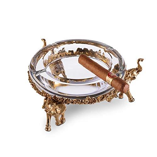 (Guyuexuan Cigar Ashtray, Austrian Crystal Four-Smoke Smog, Bronze Carved Elephant Base European-Style Living Room Decoration, Round, Best)