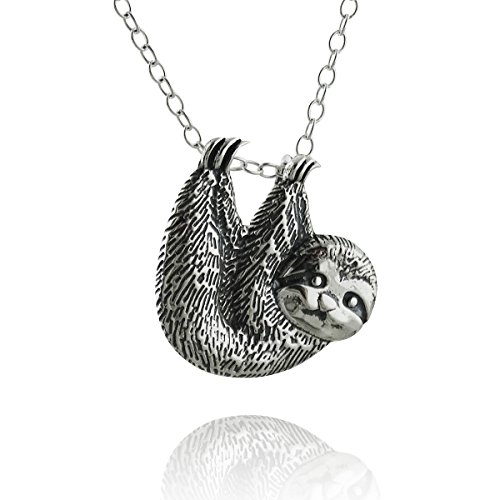 "Sterling Silver Textured Sloth Slider Pendant Necklace, 18"" Cable Chain"