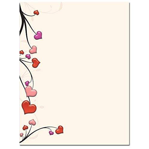 Heart Vines Letterhead & Printer Paper 100 Pack