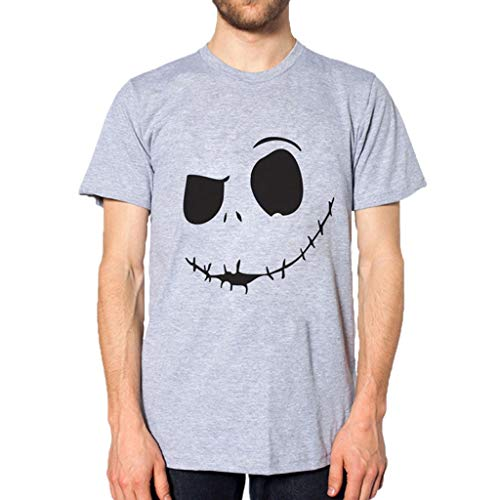 RoDeke Men's Casual Short Sleeve Solid Color New Evil Smile Face Printed Crew Neck Quick Dry T-Shirt Gray ()