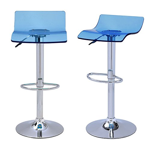 Asense Acrylic Hydraulic Lift Adjustable Acrylic Transparent / Clear Micro Back Bar Stools (Set of Two) (Blue - White Bar Stool Acrylic