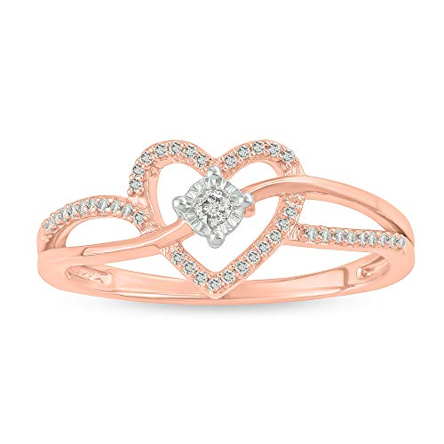 Tesero Mio Rose Gold Plated Sterling Silver 1/10 Carat Round Cut (I-J Color, I2-I3 Clarity) Natural Diamond Promise Ring for Her, US Size ()
