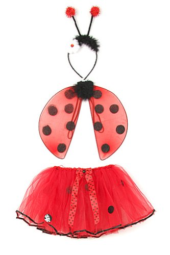 Red Toddler Girl Lady Bug Wings Tutu Costume Dress Up Set 1-4T (Ladybug Tutu Costume)