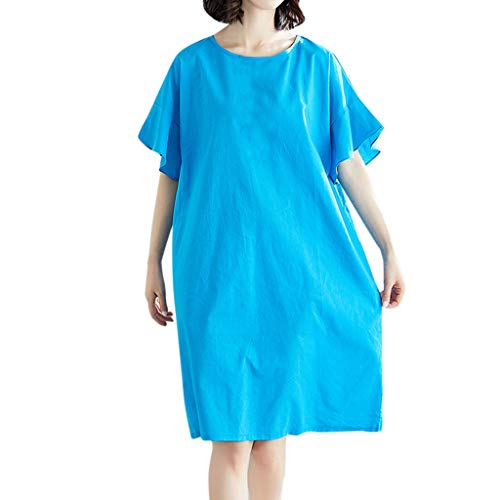 (Vintage Summer Casual Cute Women Short Sleeve Knee Length Loose Hem Dress Blue)