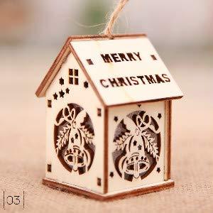 Pendant Drop Ornaments - Christmas Tree Pendant Decoration Cottage With Lights Color Cabin Children 39 S Gift Small House - Charm Quartz Newton Balloon Reiki Crystal Pendulum Pillar Led