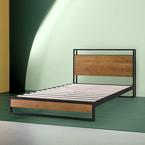 Zinus - Suzanne - Metal and Wood Platform Bed with Headboard Shelf / Box Spring Optional / Wood Slat Support, King