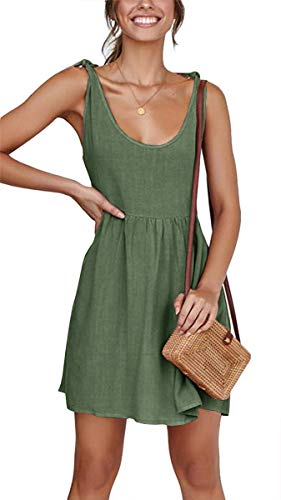 CNJFJ Women Summer Dress Sexy Scoop Neck Tie Shoulder Strap A-Line Skater Swing Mini Dress Sleeveless Army Green