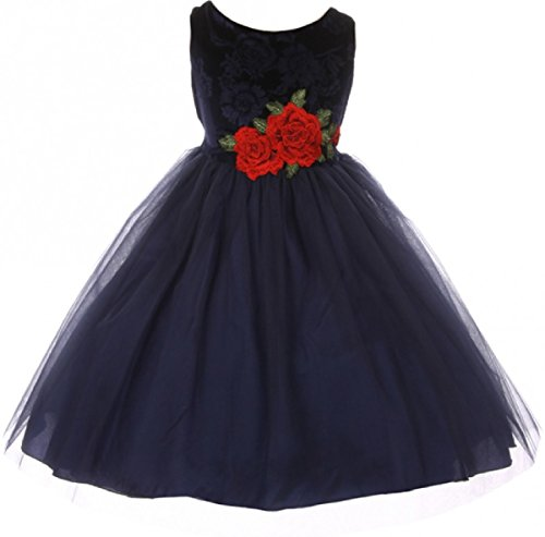 Big Girl Sleeveless Floral Velvet Rose Tulle Christmas Flower Girl Dress Navy 8 (K39D6)