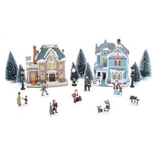 Amazon Com 20 Piece Victorian Christmas Village Set