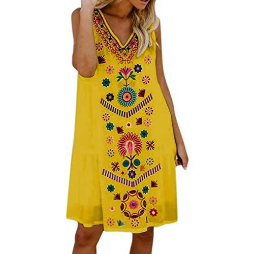 (TWGONE Boho Dresses For Women Short Sleeveless Summer Holiday Ladies Pomisi Loose Beach Party Dress(Large,Yellow))