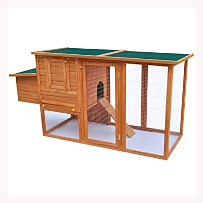 K&A Company Outdoor Chicken Cage Hen House with 1 Egg Cage Wood