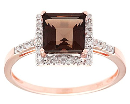 (Instagems 10k Rose Gold Square Smoky Quartz and Diamond Halo Ring)