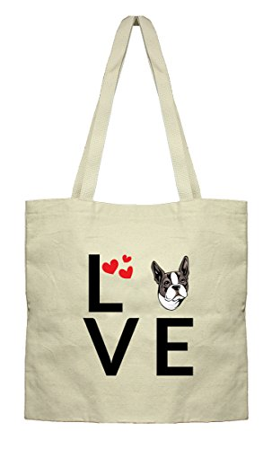 Style in Print Love Hearts Boston Terrier Dog Canvas Flat Tote Cotton Market (Boston Canvas Bag)