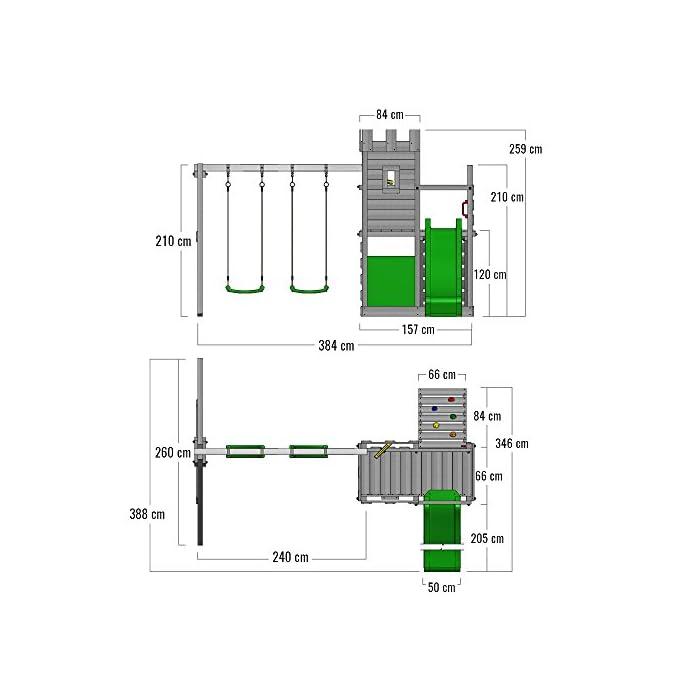 41U3OV8AFNL FATMOOSE Torre de escalada con columpio y plataforma de juego grande - Calidad-y- seguridad verificadas Madera maciza impregnada en clave, de fácil mantenimiento - Viga de columpio de 9x9cm y postes verticales de 7x7cm Instrucciones de montaje detalladas para un montaje fácil - 10 años de garantía* para todos los elementos de madera