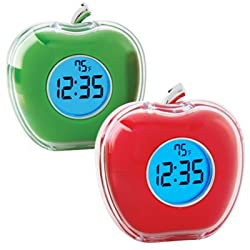 StealStreet SS-KD-2054-RED, 3 Multi-Functional Talking Alarm Clock with Temperature, Red Apple,