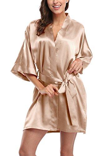 4919e1e7f7 Laurel Snow Women s Short Satin Kimono Robes Pure Color ...