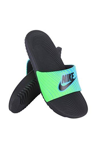 Nike Kids Kawa Print Slide Sandals (2 Little Kid M, Beta Blue/Voltage Green/Black) (Shoes For Kids Online)