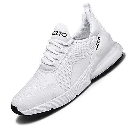 Mabove Laufschuhe Herren Damen Turnschuhe Sportschuhe Straßenlaufschuhe Sneaker Atmungsaktiv Trainer für Running Fitness Gym Outdoor(Weiß LT,47 EU)