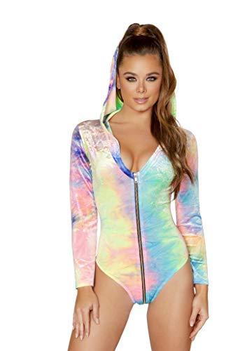 (Rave Costumes Zip up Tie Dye Velvet Long Sleeved Hoodie Bodysuit Bundle with Pink Shorts)