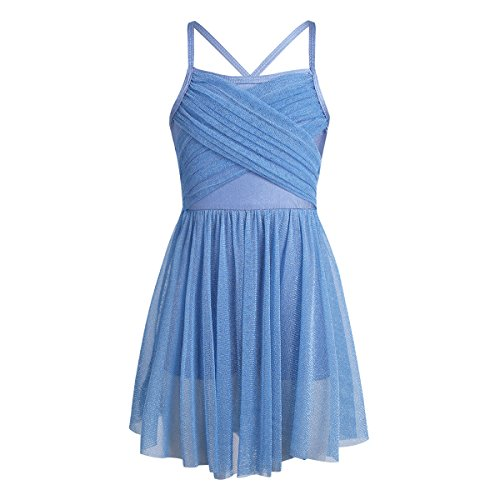iEFiEL Girls Kids Camisole Ballet Dress Ballerina Empire Waist Leotard Skater Dance Costume Light Blue Glittery 12 -