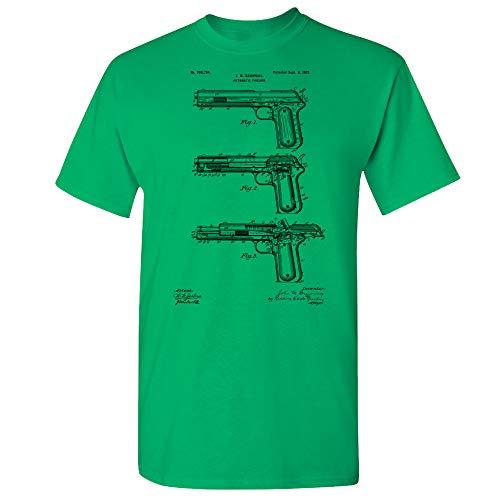 Colt 1902 Pistol T-Shirt, Gun Lover Gift, John Browning, Firearm Collector, Gun Enthusiast, Military Gifts, NRA Member Irish Green (Medium)