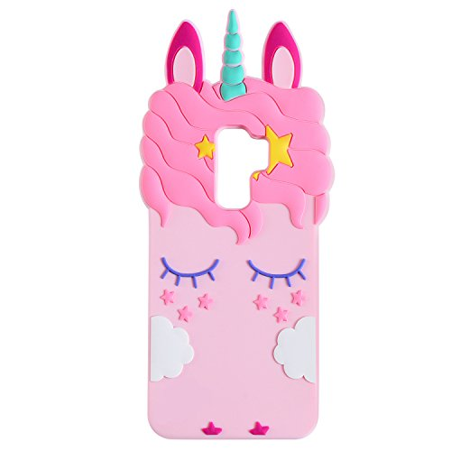 Joyleop Pink Unicorn Case for Samsung Galaxy S9 Plus + Cute 3D Cartoon Animal Cover,Kids Girls Cool Fun Soft Silicone Gel Rubber Kawaii Character Fashion Unique Cases Protector Skin Samsung S9plus
