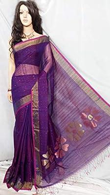 ETHNIC EMPORIUM - Blusa para Mujer, diseño de Flores moradas, Seda Resham, Cuerpo Completo, sequencia, Tejido Sari West Bengal, Formal, 151A 6.25 m, como se Muestra en la Imagen.: Amazon.es: Bricolaje y