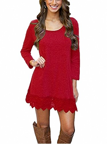 Afibi Women's Long Sleeve A-Line Lace Stitching Trim Casual Dress