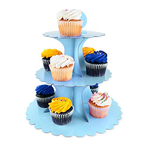 3 Tier Cupcake Cardboard Stand with Blank Canvas Design for Pastry Servings Platter, Birthdays, Dessert Tower Decorations (1 Stand) (Blue) -