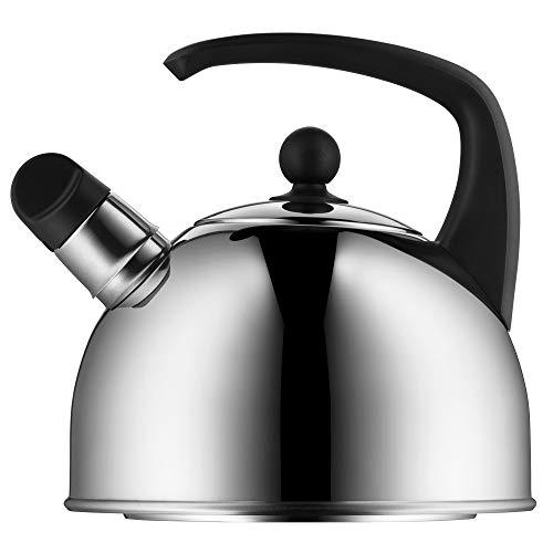 WMF - Hervidor de agua para induccion, 2 l, tetera con silbato, de acero inoxidable Cromargan pulido