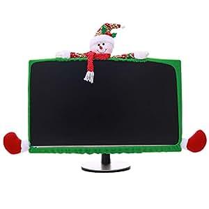 Vococal-Navidad de Dibujos Animados Lindo Pantalla elástica del Monitor de la Cubierta del Ornamento decoración para 19-27 Pulgadas Ordenador portátil Home ...