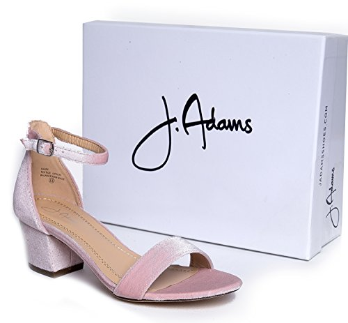 Adorable Adams Pink Block Kitten Daisy Velvet Low Strap J Heel Ankle XAwXd7