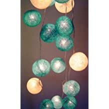 New Solar Powered LED Mixed Blues & White Cotton Balls Fairy Light String - By GLOWFROST TM