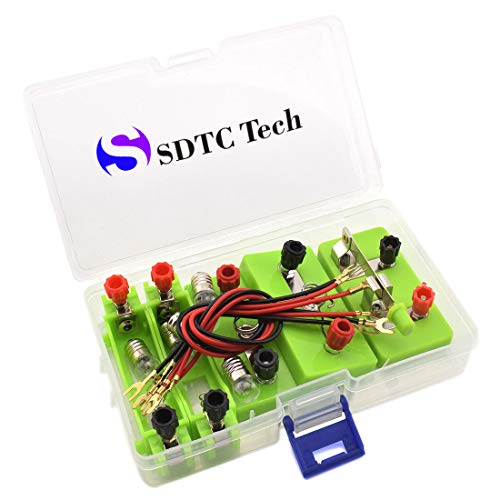 (SDTC Tech Circuit Learning Kit Include Mini Lightbulb, Lightbulb Socket, Battery Holder, Switch, Series Parallel Circuit Electricity Lab Kit for Beginner Science Study)