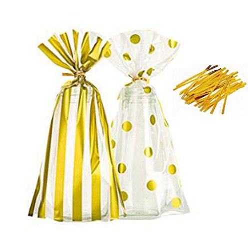 50 Pack of Gold Stripe and Gold Dot Plastic Cookie Bags Party Favor Bag Treat Bag with Metallic Twist Ties For Party Wedding Birthday Candy Package Bags (Ties Stripe Twist)