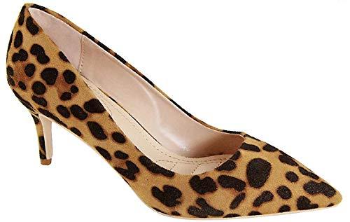 Bella Marie Marque-4 Women's Pointed Toe Low Mid Kitten Heel Slip On Pumps Shoes Leopard 7