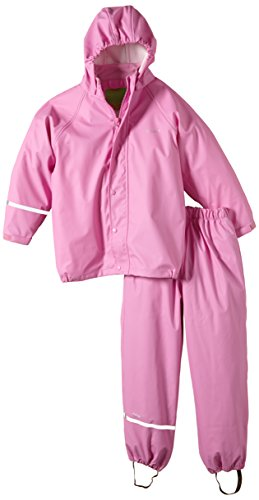 2 Pcs Rain Pants Jacket Coat - Unisex-Boy-Girl Age (2 Years- 6 Years) (Cyclamen, 3-4 Years)