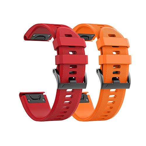 Notocity Compatible Fenix 5X Watch Bands 26mm Silicon Watch Strap for Fenix 5X/Fenix 5X Plus/Fenix 6X/Fenix 6X Pro/Fenix 3/Fenix 3 HR/Tactix/Descent MK1/D2 Delta PX/D2 Charlie for Men Women(Orange/Red)