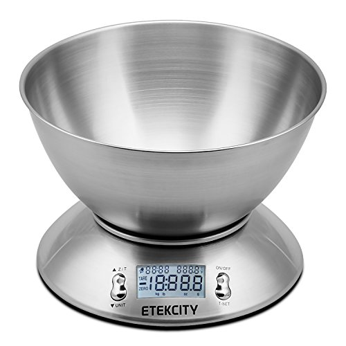 Etekcity 11lb 5kg Digital Multifunction Food Kitchen Scale with Removable Bowl 2.15L Liquid Volume Room Temperature and Timer, Backlight LCD Display
