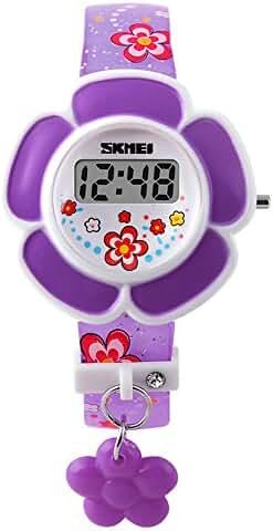 Children's Kids Cute Cartoon Flower Shape Digital Wrist Watch Purple