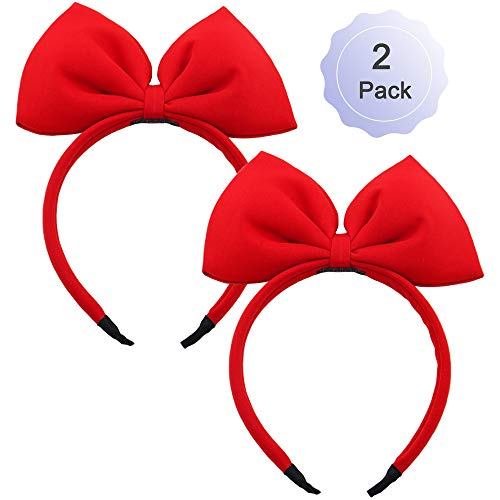 Bow Headband Red Bowknot Headband Big Bow Hair Hoop Cute Girls Kids Party Decoration Headdress Cosplay Costume Headwear Halloween Makeup Handmade Headpiece Hair Band Elastic Hair Accessories 2 Pack