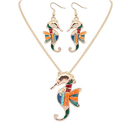YJEdward 18K Gold Plated Rainbow Seahorse Jewelry Set Necklace Earrings Gift For Her 2 Pcs -