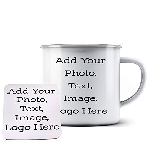 Photo Design Coaster - Customizable Coffee Mug with Your Custom Photo and Text - Personalized 12oz Enamel Coffee Mug with Coaster - Create Your Own Design with Picture