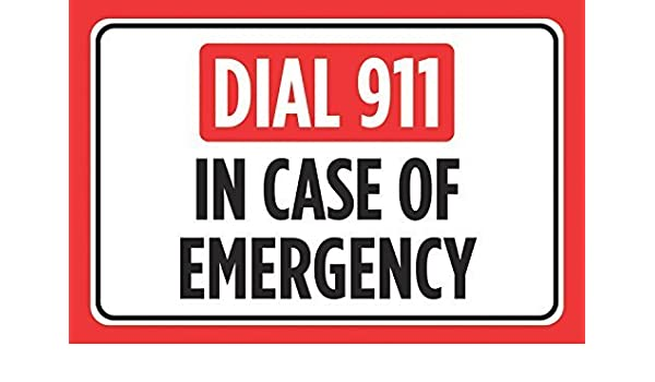 Amazon com: VictorJoan Dial 911 In Case Of Emergency Print