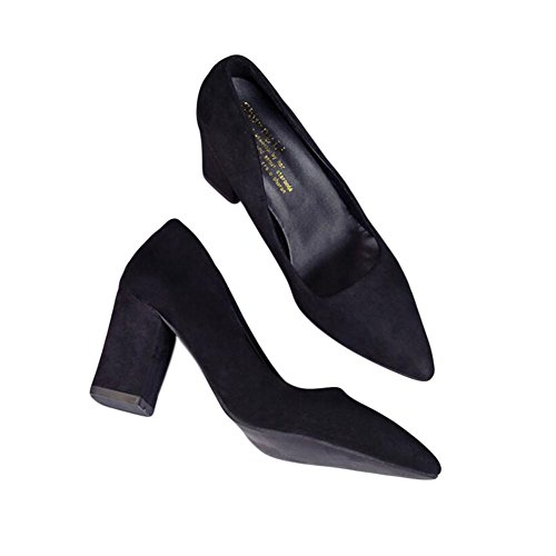Fashion Pointed Shoes Mid Shallow Single Heels Meijunter High 9CM Mouth 7 Women 7CM Black I4PFg