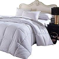 Royal Hotel Overfilled Dobby Down Consolador alternativo, tamaño King /California-King, blanco a cuadros, 100% algodón Shell 300 TC - 100 OZ Fill -750 + FP