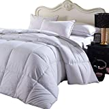 Royal Hotel Overfilled Dobby Down Alternative Comforter, King/California-King Size, Checkered White, 100% Cotton Shell 300 TC - 100 OZ Fill -750+FP