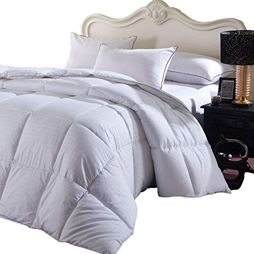 Royal Hotel Soft and Fluffy, Overfilled Dobby Down Alternative Comforter, Full/Queen Size, Checkered White, 100% Cotton Shell 300 TC - 85 OZ Fill - Duvet Insert