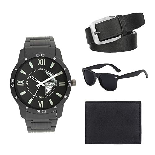Zesta Men's Combo Pack of Stainless Steel Analogue Watch with Sunglass, Wallet and Belt, Black